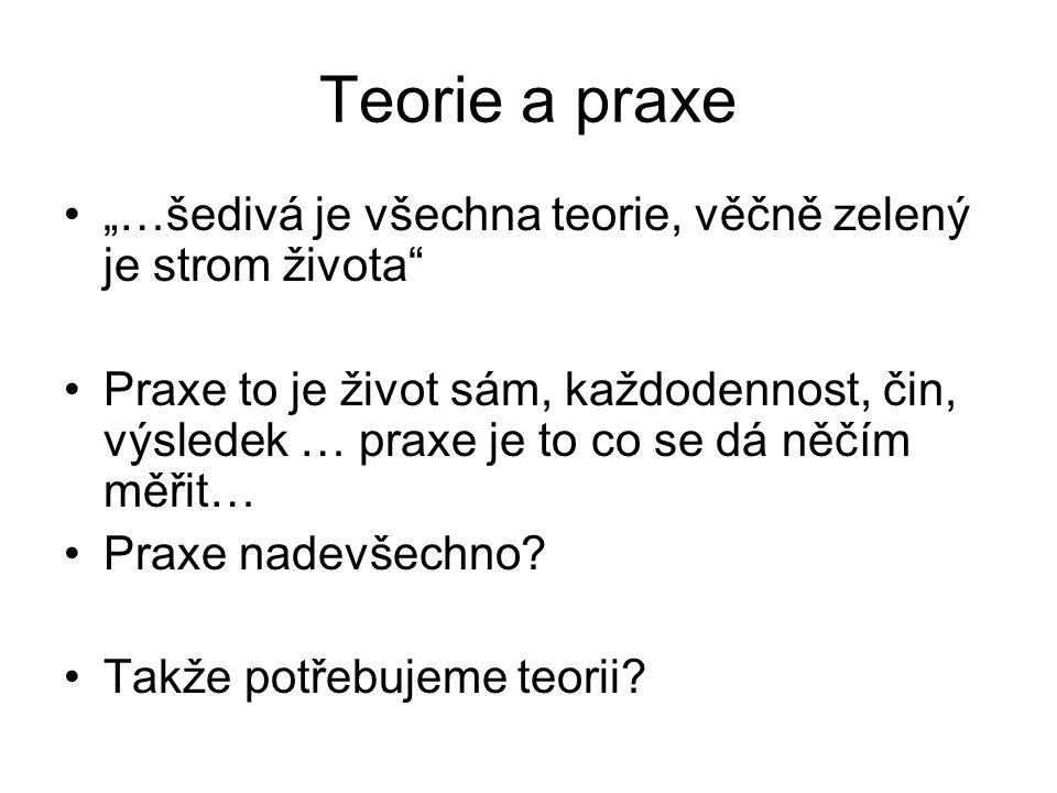 """Teorie a praxe """"…šedivá je všechna teorie, věčně zelený je strom života"""