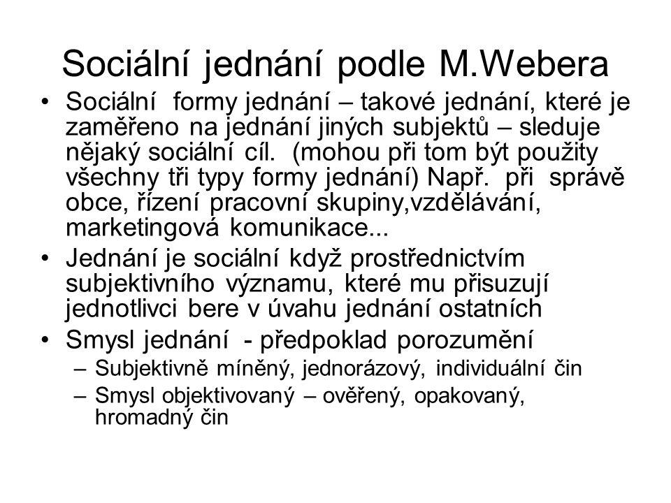 Sociální jednání podle M.Webera