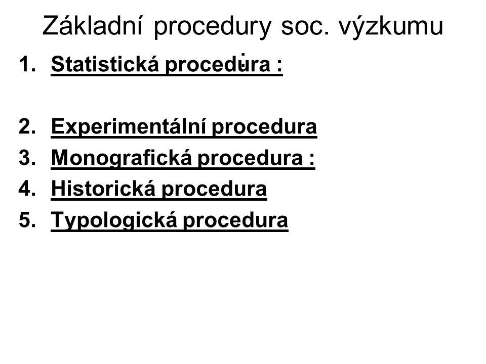 Základní procedury soc. výzkumu :