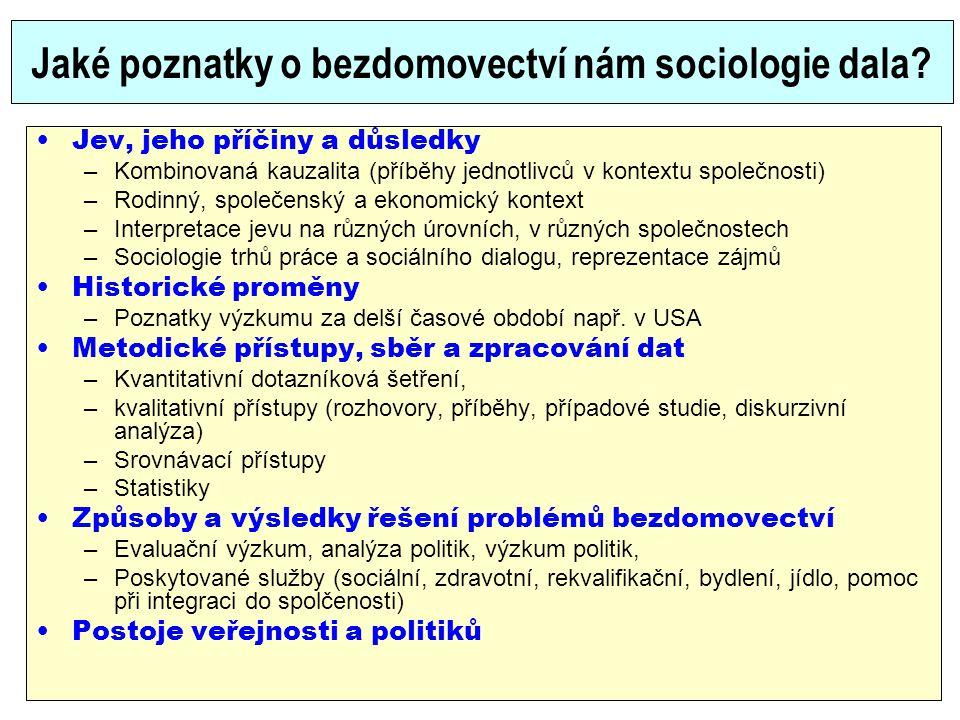 Jaké poznatky o bezdomovectví nám sociologie dala