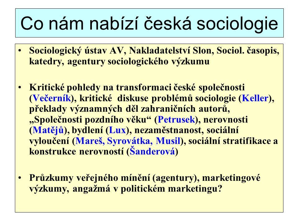 Co nám nabízí česká sociologie