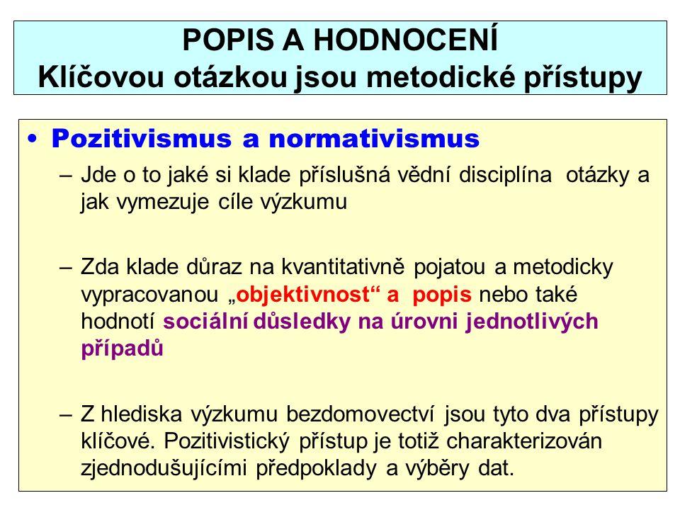 POPIS A HODNOCENÍ Klíčovou otázkou jsou metodické přístupy