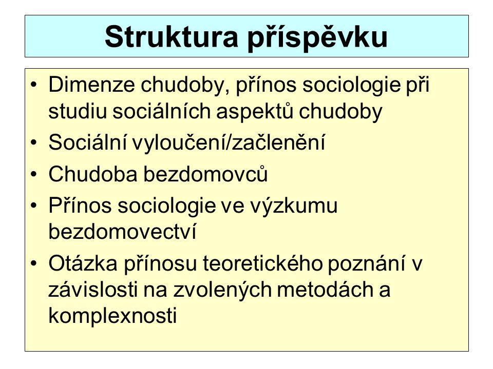 Struktura příspěvku Dimenze chudoby, přínos sociologie při studiu sociálních aspektů chudoby. Sociální vyloučení/začlenění.