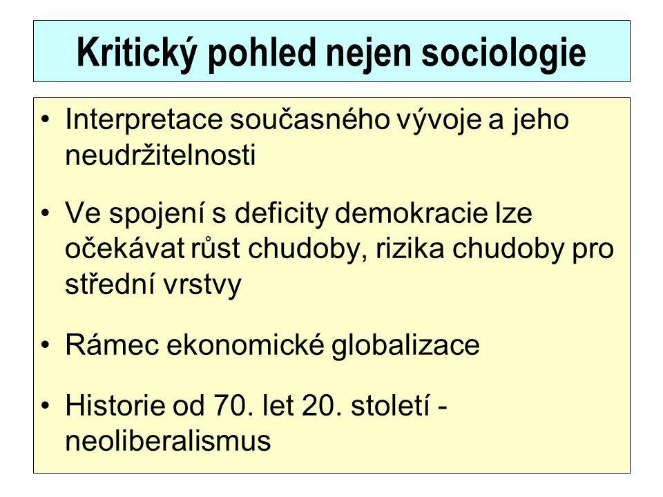 Kritický pohled nejen sociologie
