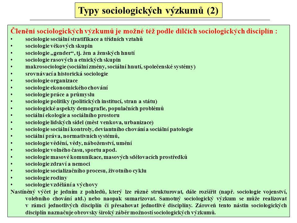 Typy sociologických výzkumů (2)