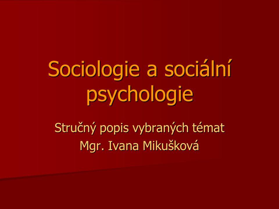 Sociologie a sociální psychologie