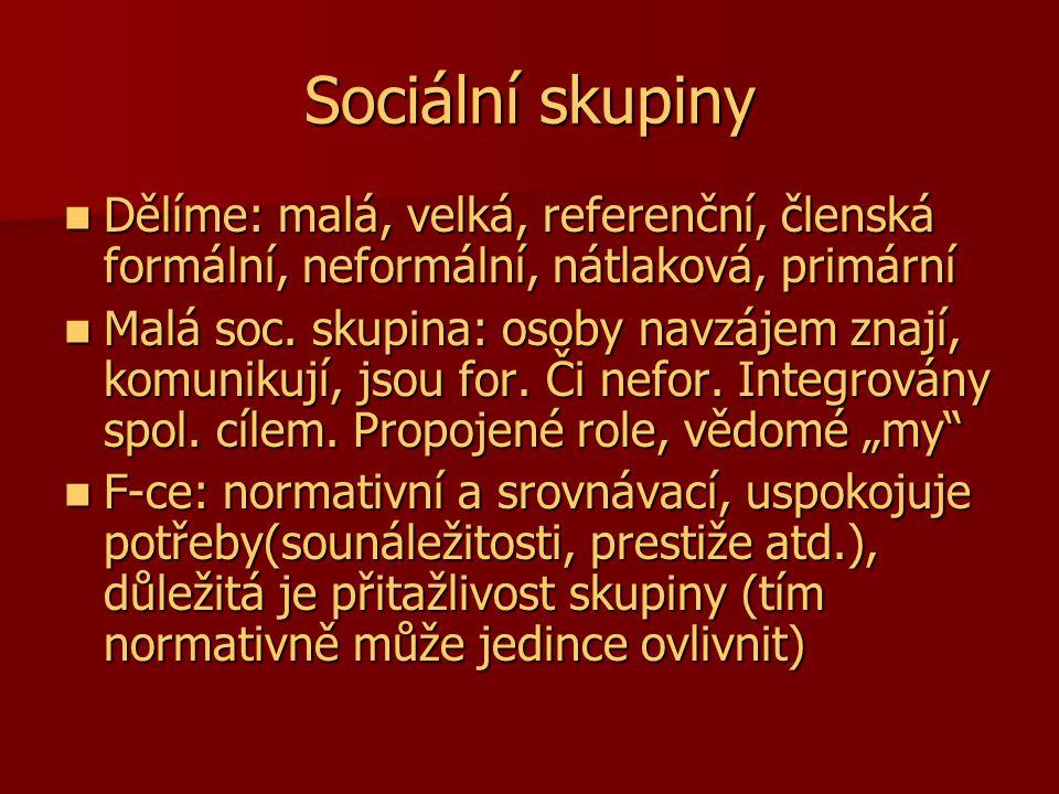 Sociální skupiny Dělíme: malá, velká, referenční, členská formální, neformální, nátlaková, primární.
