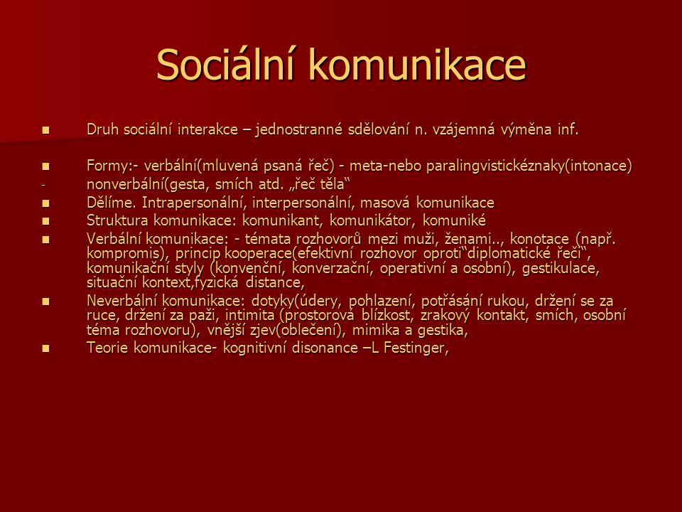 Sociální komunikace Druh sociální interakce – jednostranné sdělování n. vzájemná výměna inf.