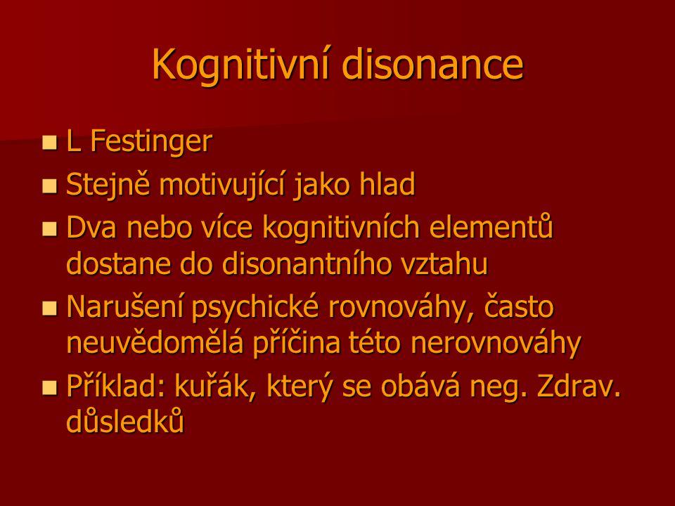 Kognitivní disonance L Festinger Stejně motivující jako hlad