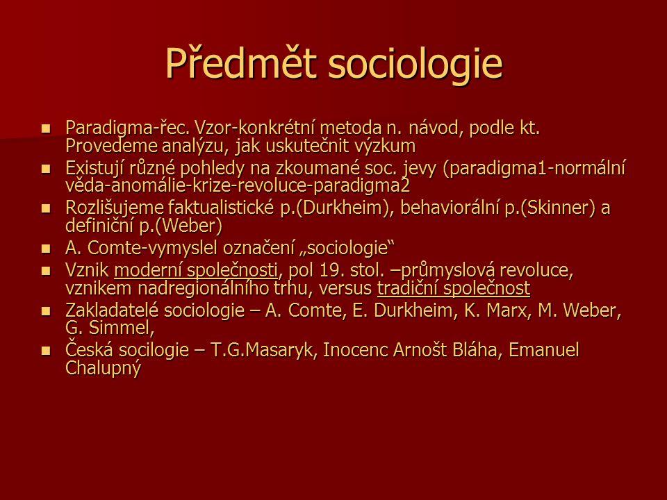 Předmět sociologie Paradigma-řec. Vzor-konkrétní metoda n. návod, podle kt. Provedeme analýzu, jak uskutečnit výzkum.