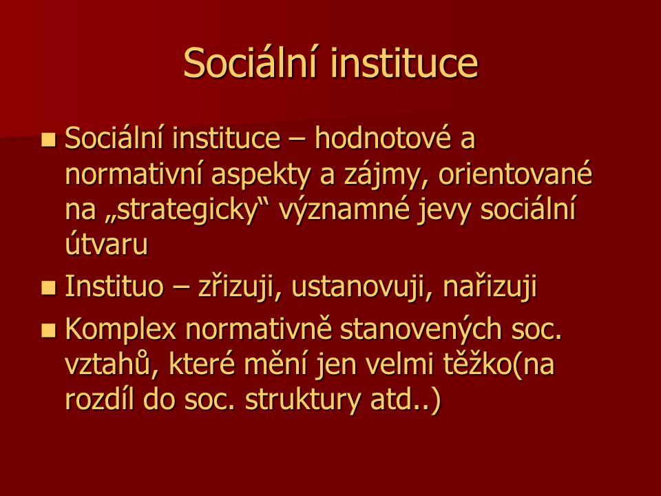 """Sociální instituce Sociální instituce – hodnotové a normativní aspekty a zájmy, orientované na """"strategicky významné jevy sociální útvaru."""