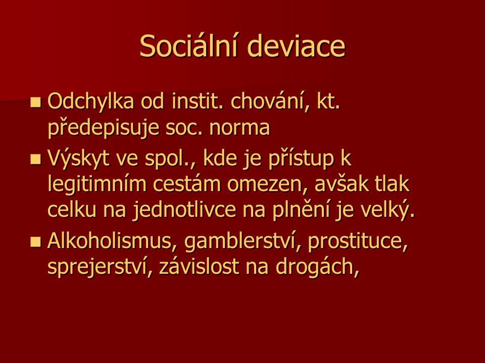 Sociální deviace Odchylka od instit. chování, kt. předepisuje soc. norma.
