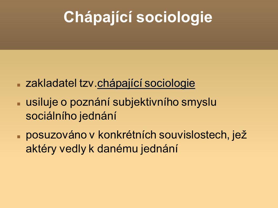 Chápající sociologie zakladatel tzv.chápající sociologie