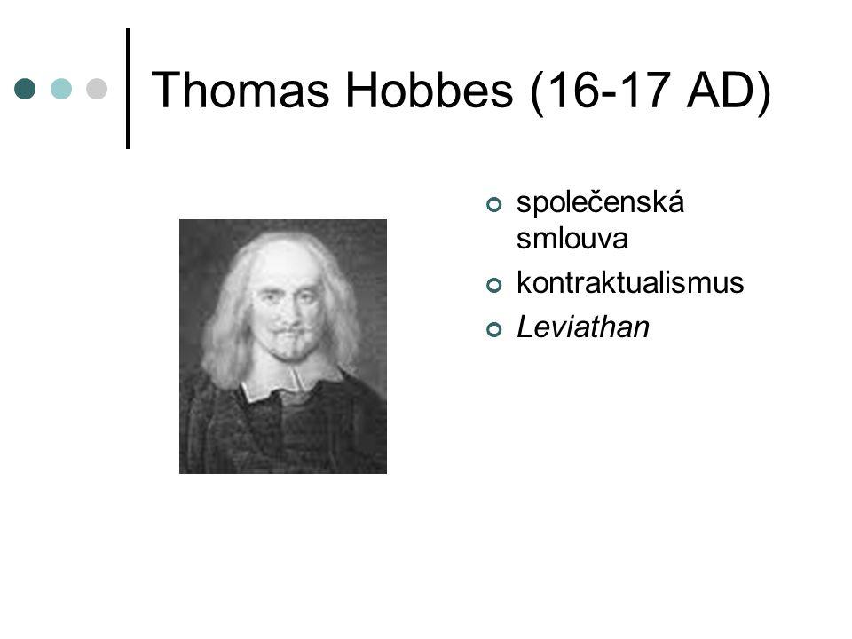 Thomas Hobbes (16-17 AD) společenská smlouva kontraktualismus