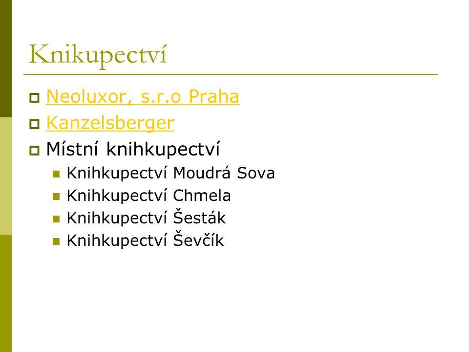 Knikupectví Neoluxor, s.r.o Praha Kanzelsberger Místní knihkupectví