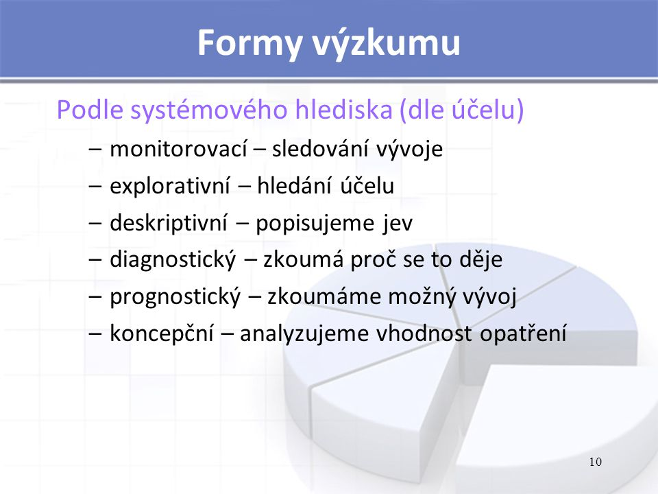 Formy výzkumu Podle systémového hlediska (dle účelu)
