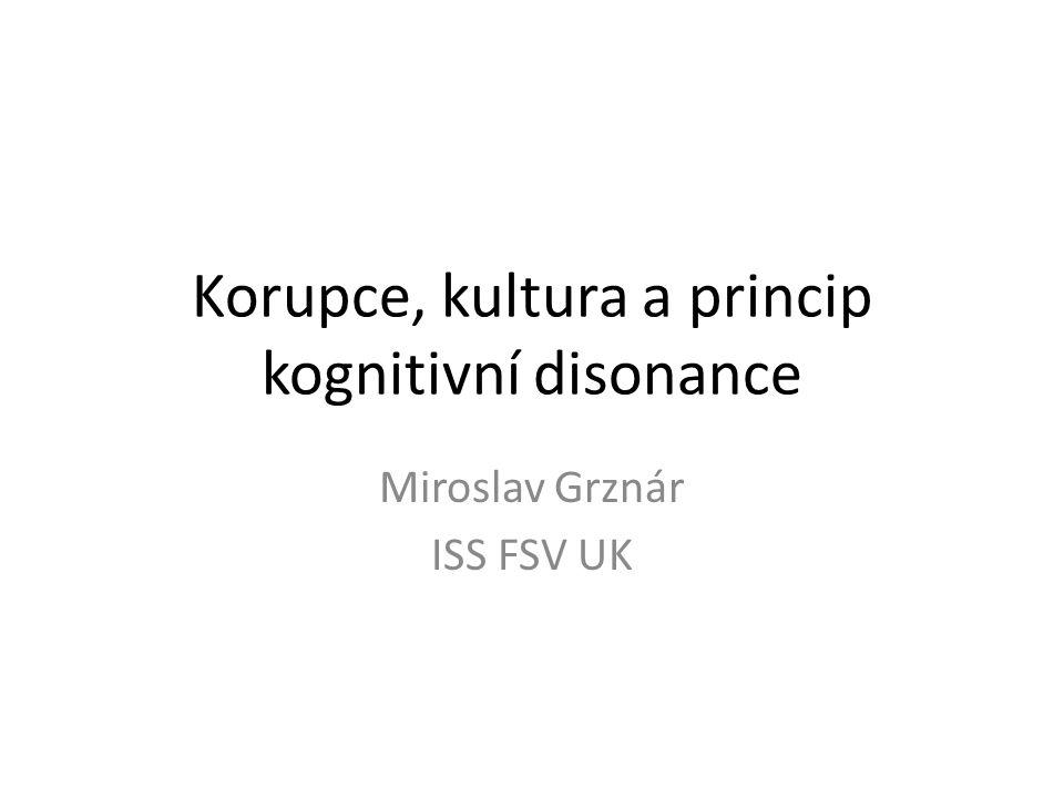 Korupce, kultura a princip kognitivní disonance