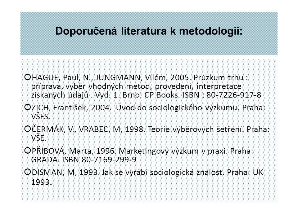 Doporučená literatura k metodologii:
