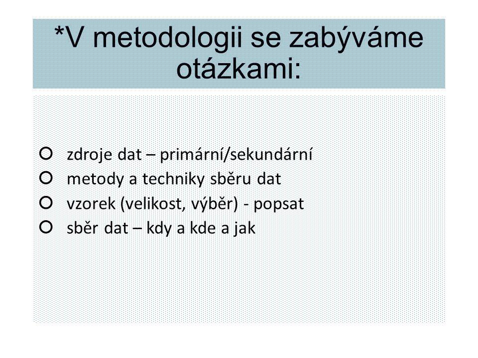 *V metodologii se zabýváme otázkami:
