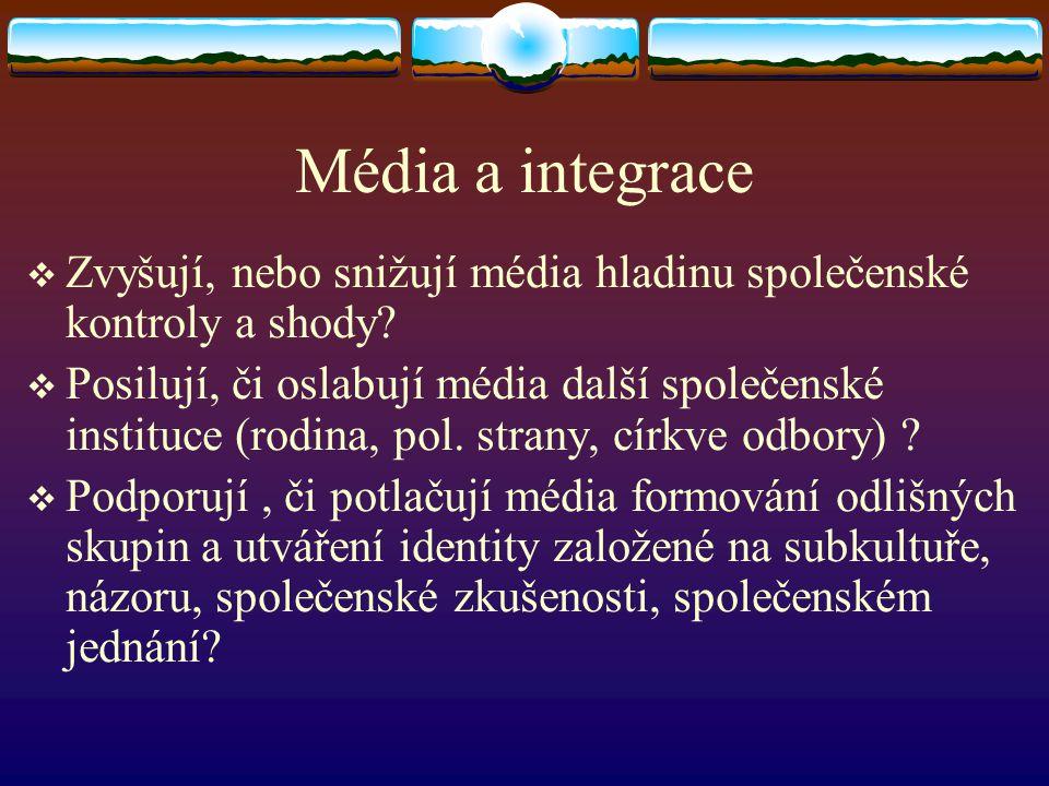 Média a integrace Zvyšují, nebo snižují média hladinu společenské kontroly a shody