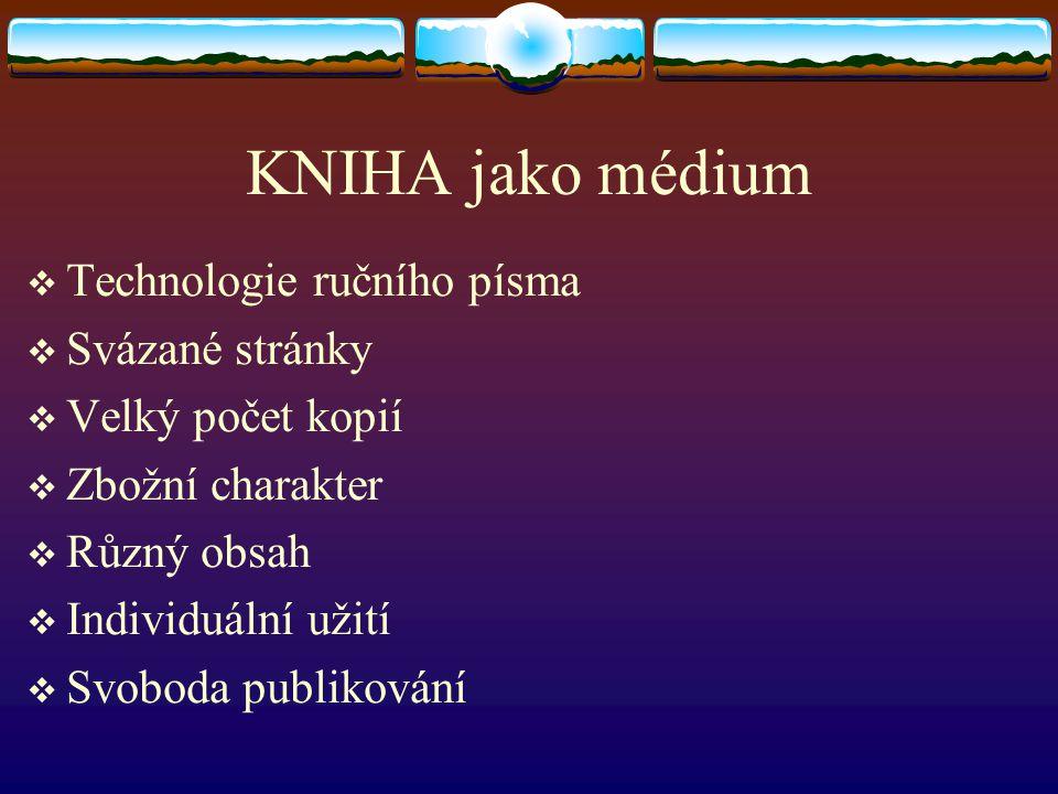 KNIHA jako médium Technologie ručního písma Svázané stránky