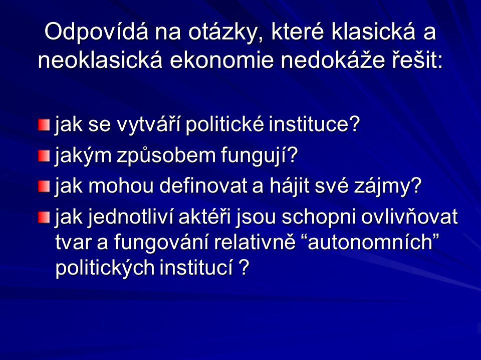 Odpovídá na otázky, které klasická a neoklasická ekonomie nedokáže řešit: