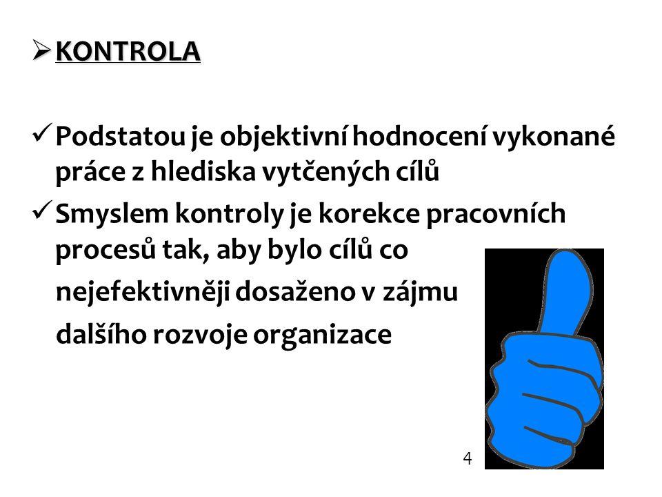 Smyslem kontroly je korekce pracovních procesů tak, aby bylo cílů co