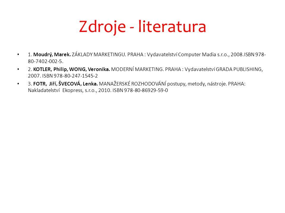 Zdroje - literatura 1. Moudrý, Marek. ZÁKLADY MARKETINGU. PRAHA : Vydavatelství Computer Madia s.r.o., 2008.ISBN 978-80-7402-002-5.