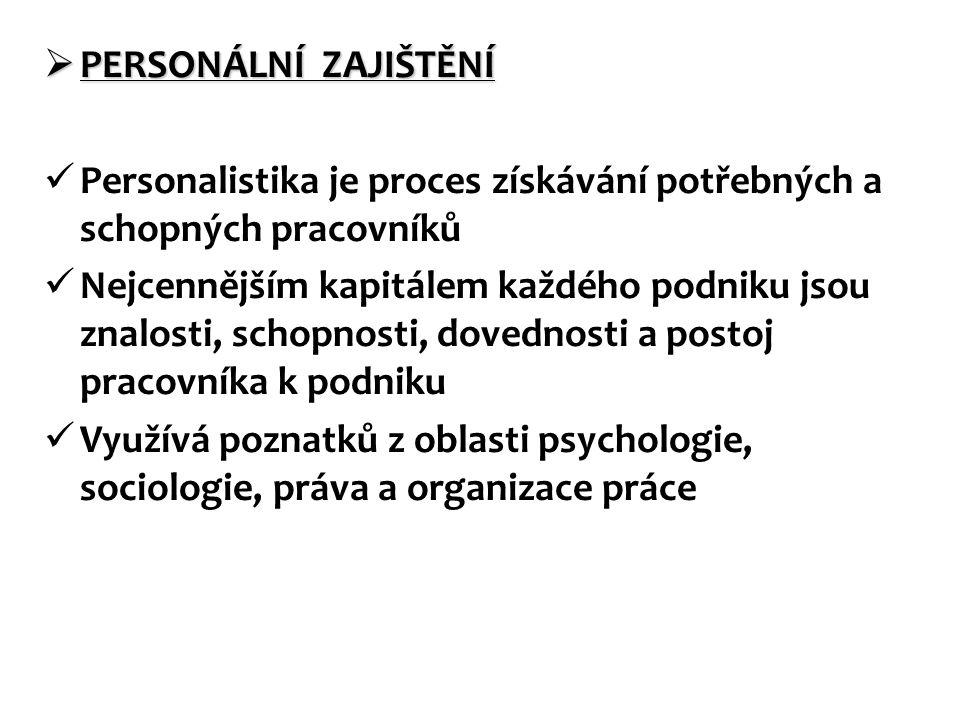 PERSONÁLNÍ ZAJIŠTĚNÍ Personalistika je proces získávání potřebných a schopných pracovníků.