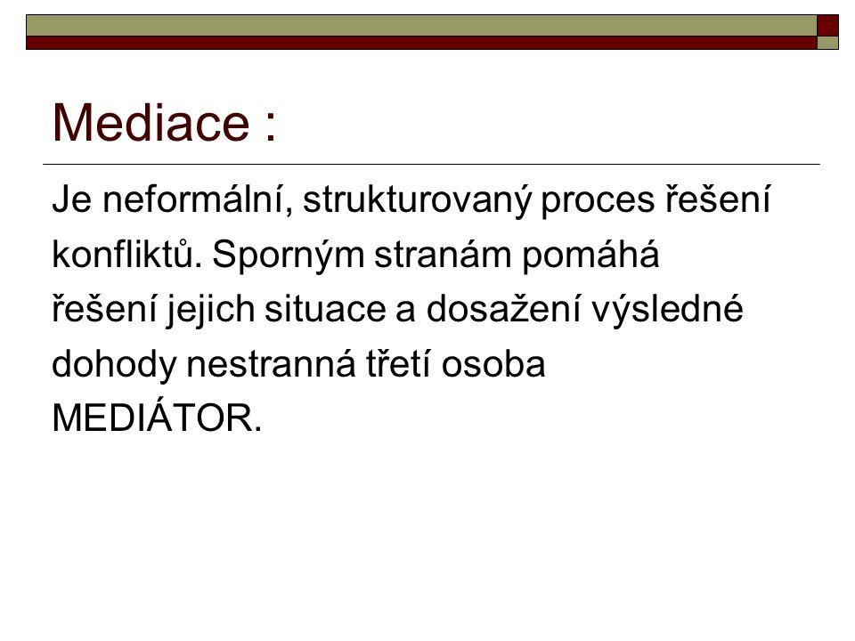 Mediace : Je neformální, strukturovaný proces řešení