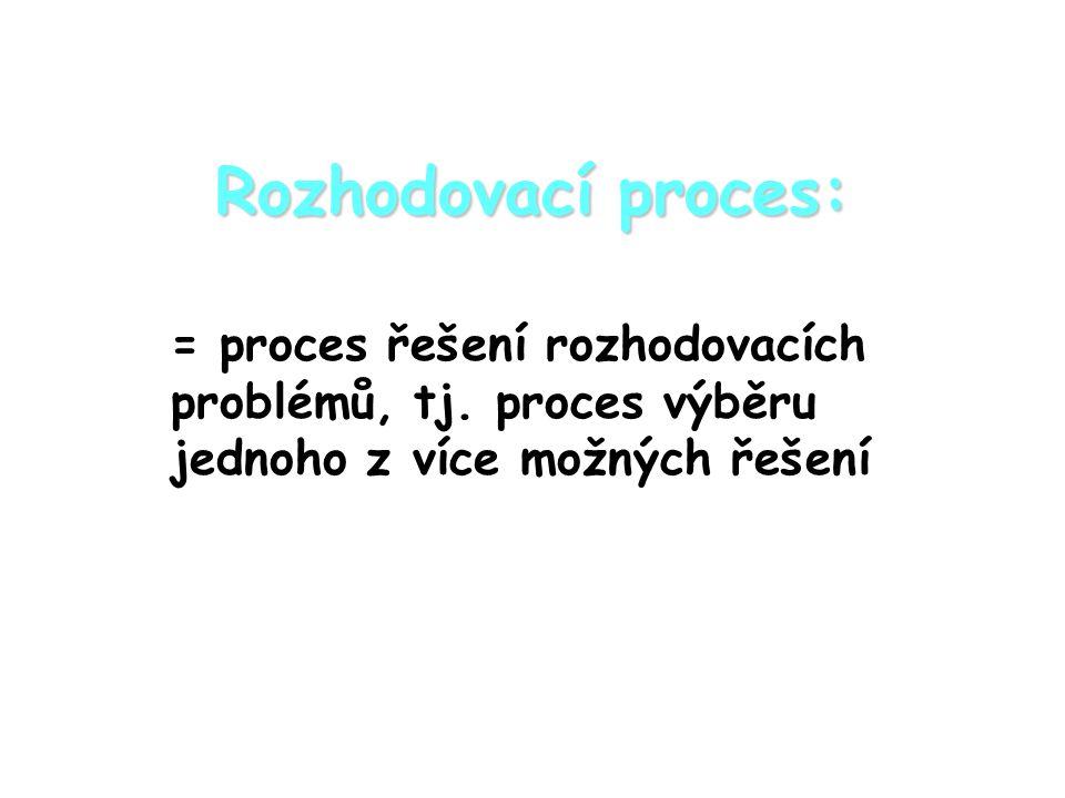 Rozhodovací proces: = proces řešení rozhodovacích problémů, tj.