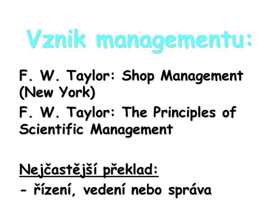 Vznik managementu: F. W. Taylor: Shop Management (New York)