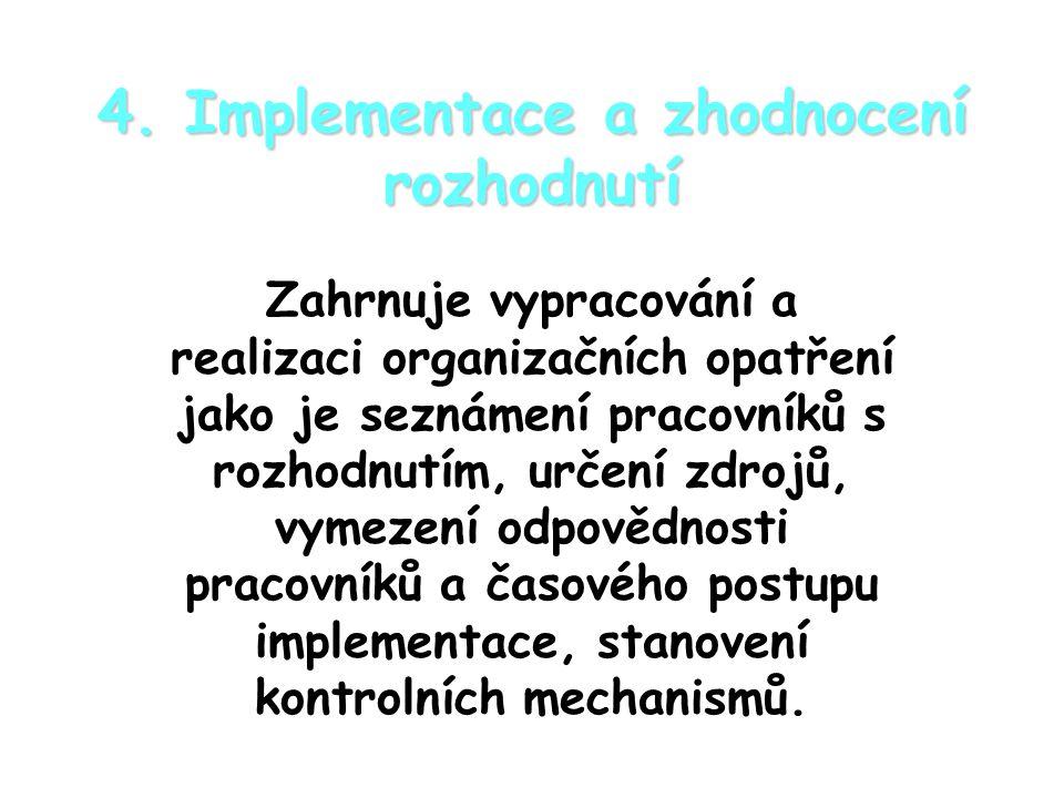 4. Implementace a zhodnocení rozhodnutí
