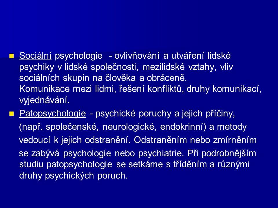 Sociální psychologie - ovlivňování a utváření lidské psychiky v lidské společnosti, mezilidské vztahy, vliv sociálních skupin na člověka a obráceně. Komunikace mezi lidmi, řešení konfliktů, druhy komunikací, vyjednávání.