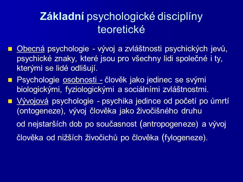 Základní psychologické disciplíny teoretické