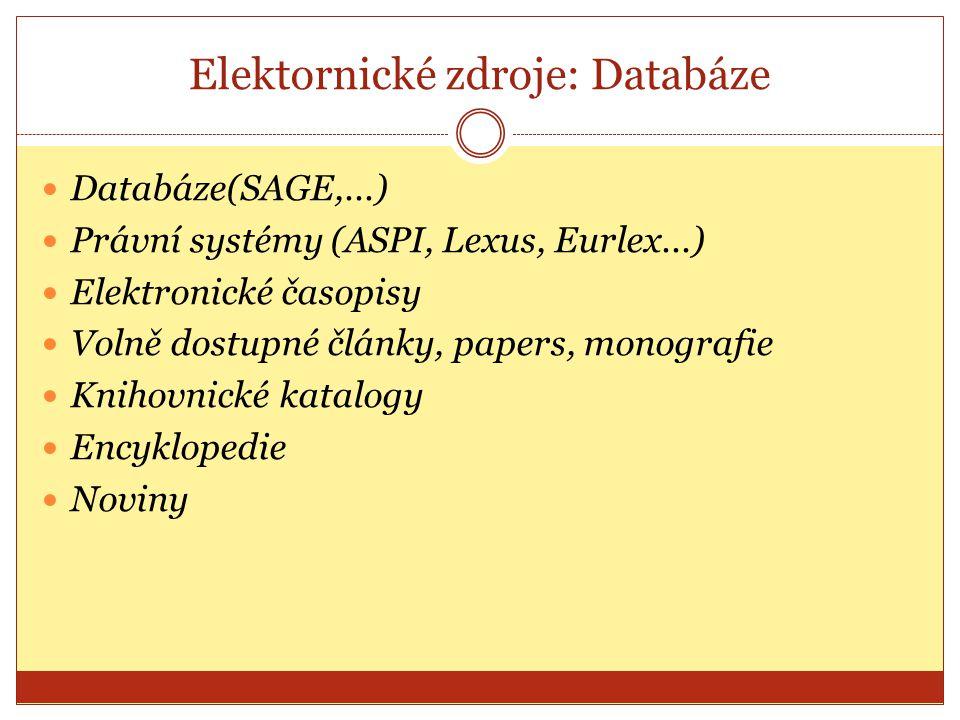 Elektornické zdroje: Databáze
