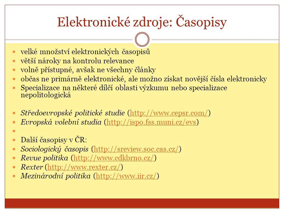 Elektronické zdroje: Časopisy
