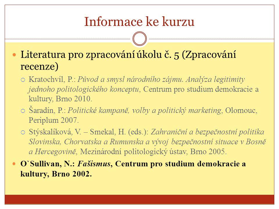 Informace ke kurzu Literatura pro zpracování úkolu č. 5 (Zpracování recenze)