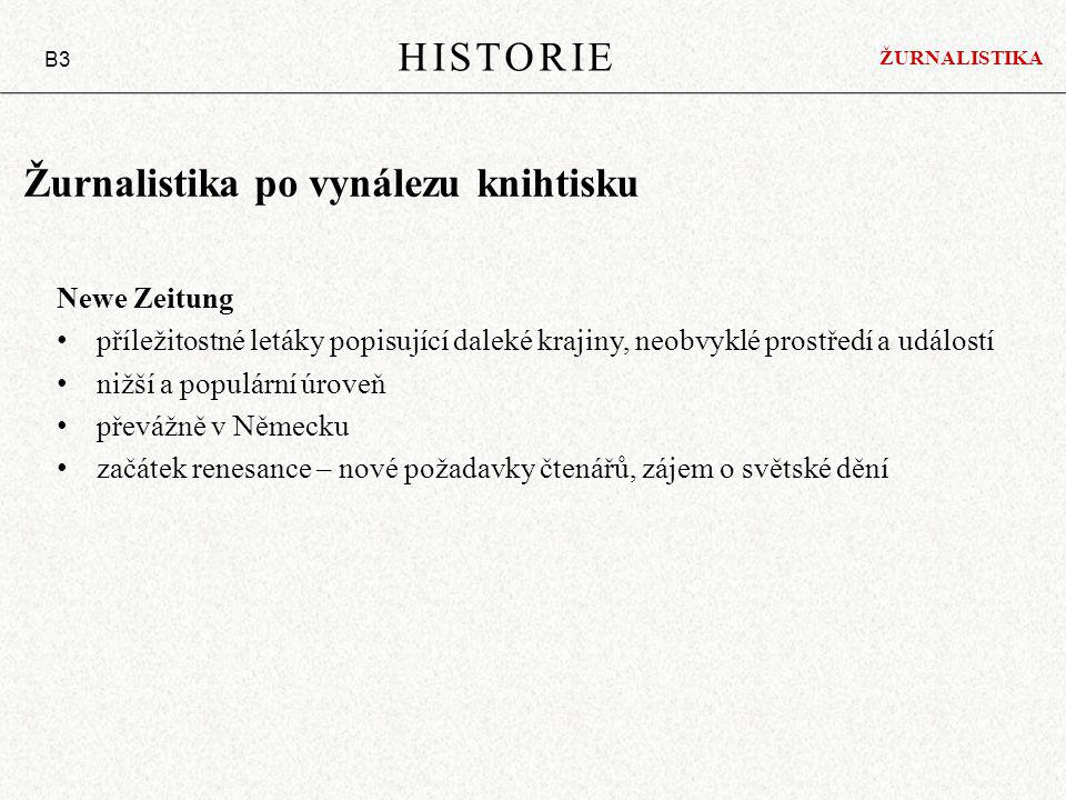Žurnalistika po vynálezu knihtisku