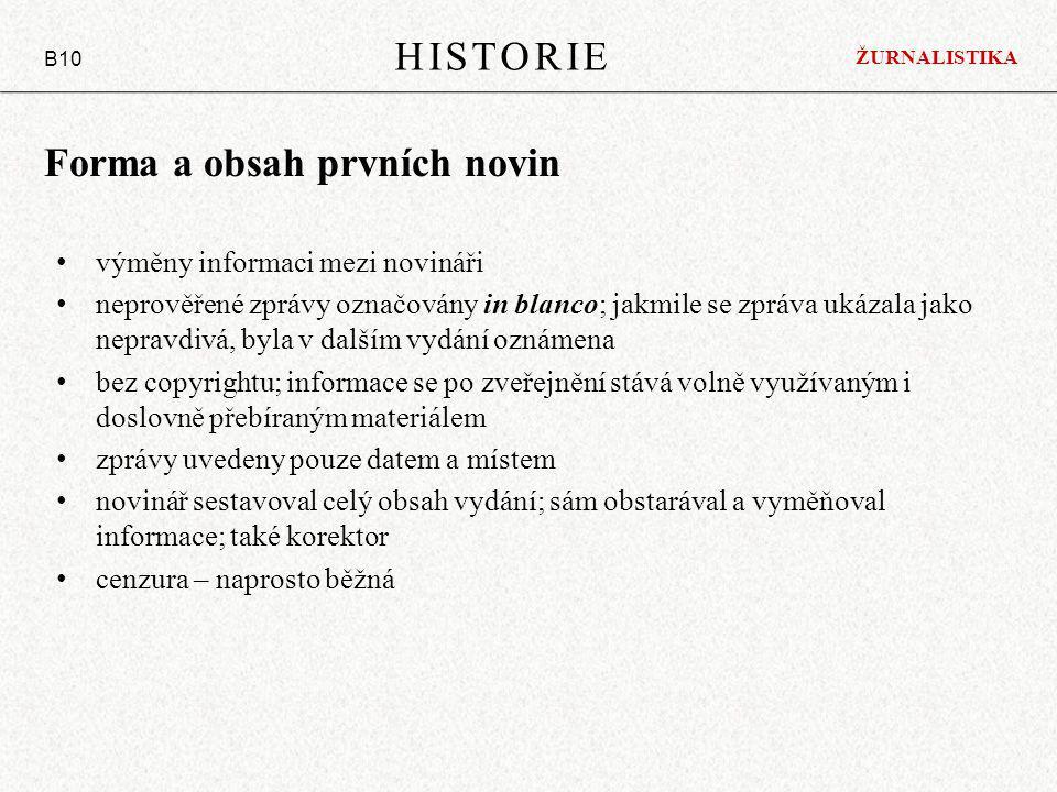 Forma a obsah prvních novin