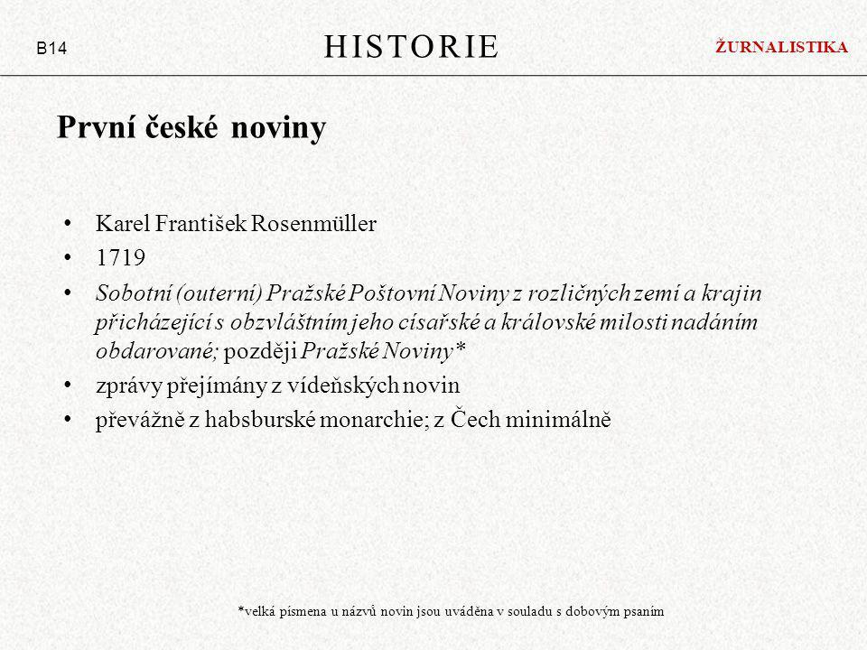 HISTORIE První české noviny Karel František Rosenmüller 1719