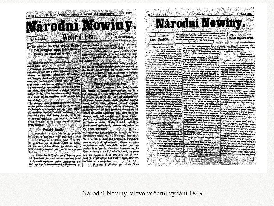 Národní Noviny, vlevo večerní vydání 1849