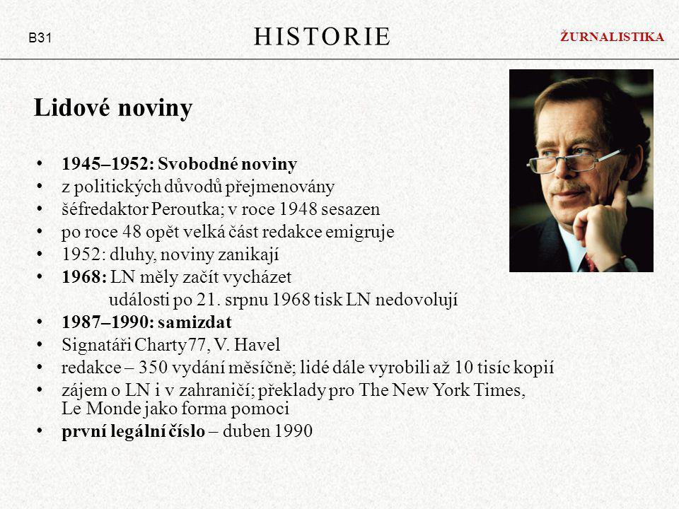 HISTORIE Lidové noviny 1945–1952: Svobodné noviny