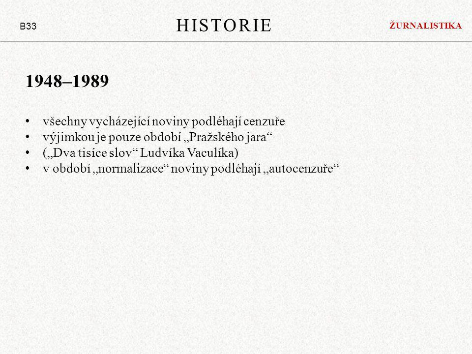 HISTORIE 1948–1989 všechny vycházející noviny podléhají cenzuře