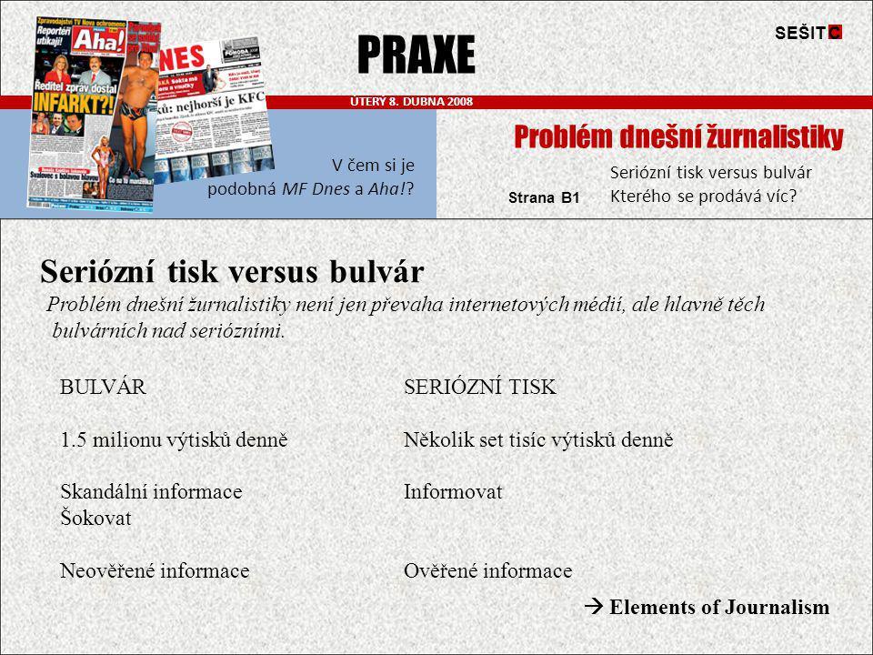 PRAXE Seriózní tisk versus bulvár Problém dnešní žurnalistiky