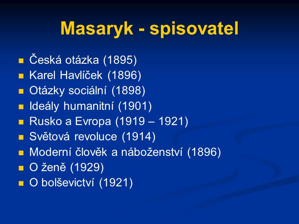 Masaryk - spisovatel Česká otázka (1895) Karel Havlíček (1896)