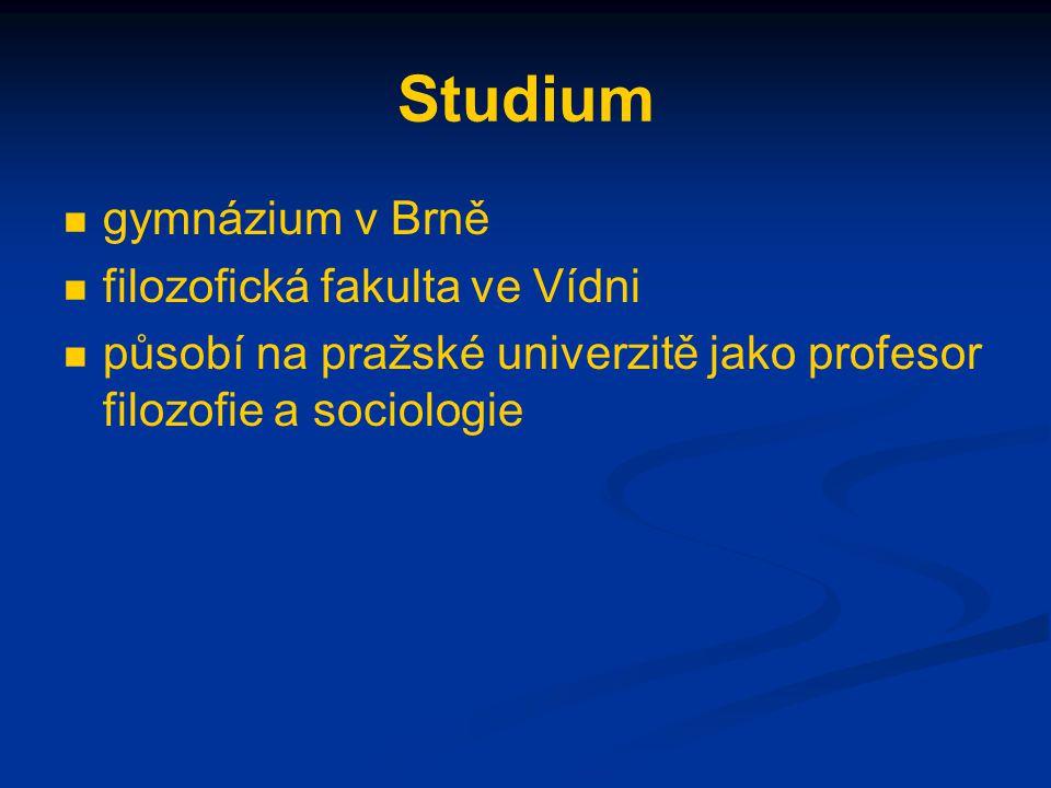 Studium gymnázium v Brně filozofická fakulta ve Vídni