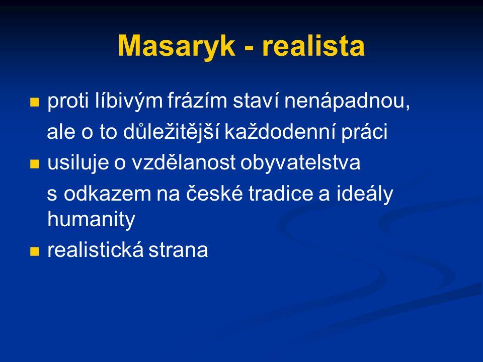 Masaryk - realista proti líbivým frázím staví nenápadnou,
