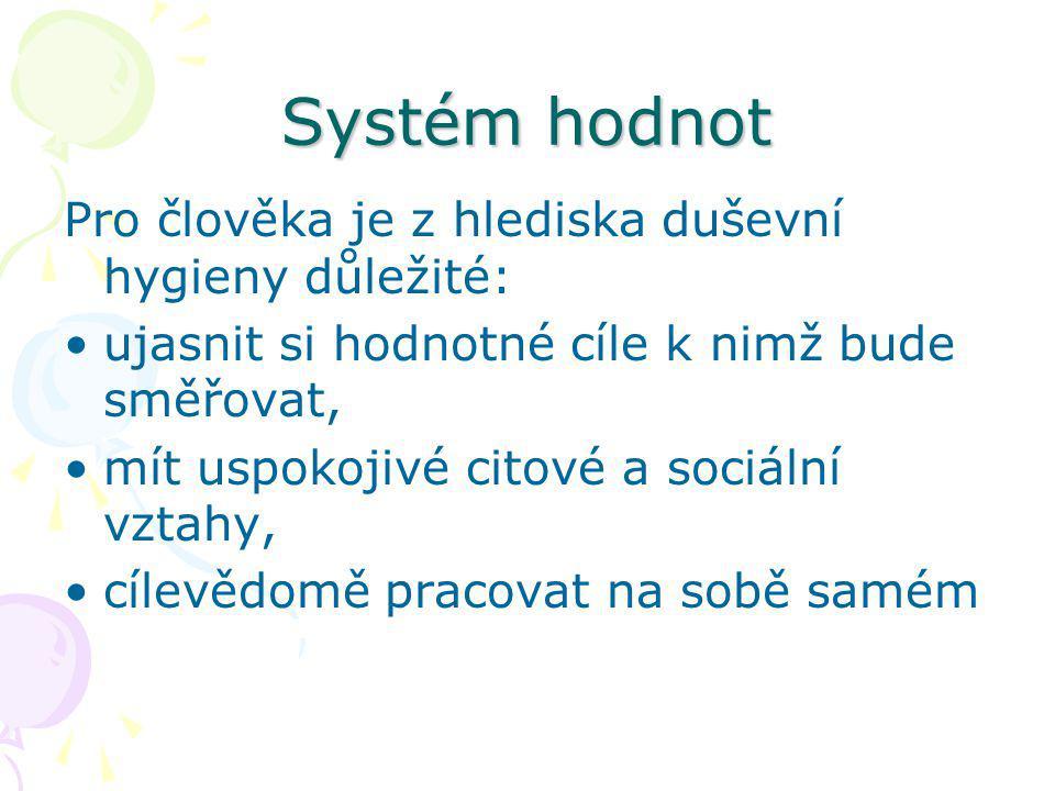 Systém hodnot Pro člověka je z hlediska duševní hygieny důležité: