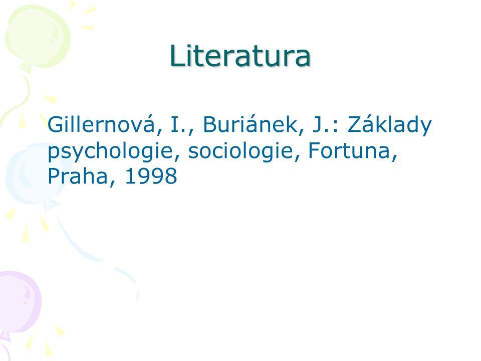 Literatura Gillernová, I., Buriánek, J.: Základy psychologie, sociologie, Fortuna, Praha, 1998